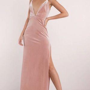 tobi got it good plunging maxi dress rose pink